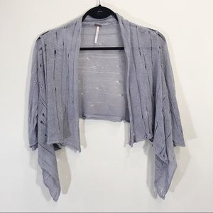 Free people Cropped Linen Crochet Cardigan Small